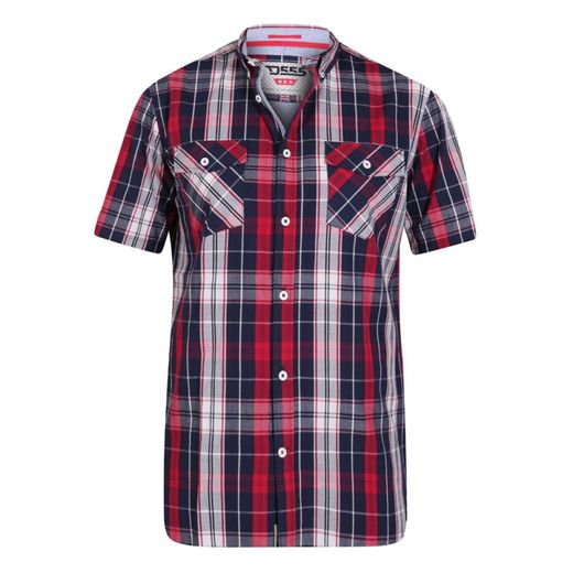 Short Sleeve Navy/Red Button Down Collar Check Shirt